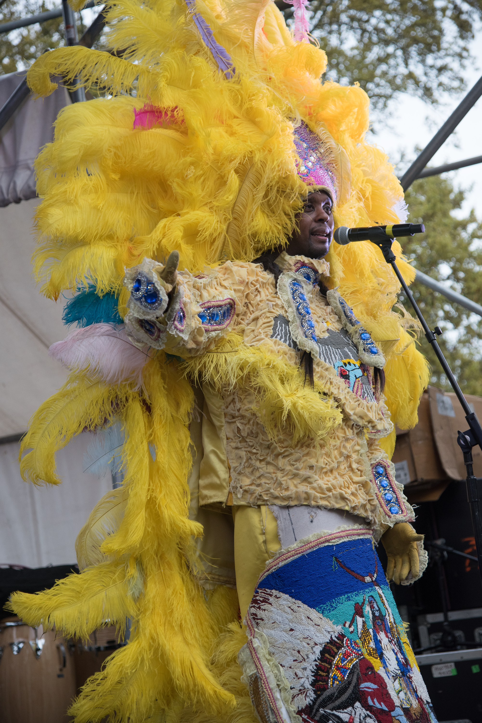 2015 Congo Square Rhythms Festival, New Orleans, music, The Wild Magnolias featuring Monk Boudreaux and Bo Dollis Jr.